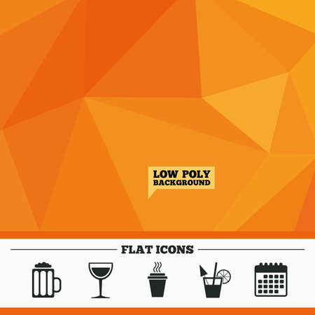low glass: Triangular low poly orange background. Drinks icons. Take away coffee cup and glass of beer symbols. Wine glass and cocktail signs. Calendar flat icon. Vector