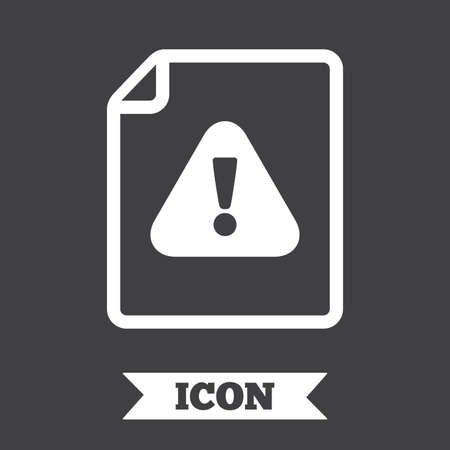 attention symbol: File attention sign icon. Exclamation mark. Hazard warning symbol. Graphic design element. Flat file attention symbol on dark background. Vector Illustration