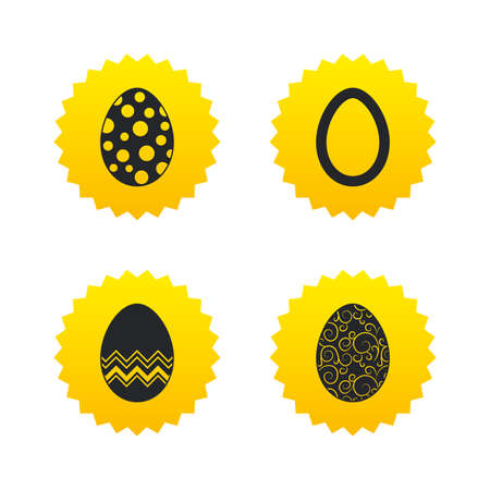 pasch: Easter eggs icons. Circles and floral patterns symbols. Tradition Pasch signs. Yellow stars labels with flat icons. Vector