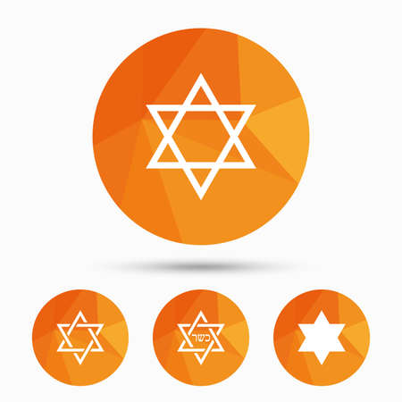yiddish: Star of David sign icons. Symbol of Israel. Triangular low poly buttons with shadow. Vector