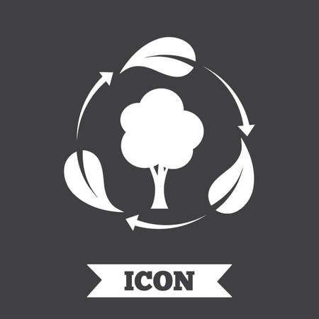 fresh air: Fresh air sign icon. Forest tree with leaves symbol. Graphic design element. Flat fresh air symbol on dark background. Vector