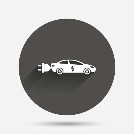 sedan: Electric car sign icon. Sedan saloon symbol. Electric vehicle transport. Circle flat button with shadow. Vector