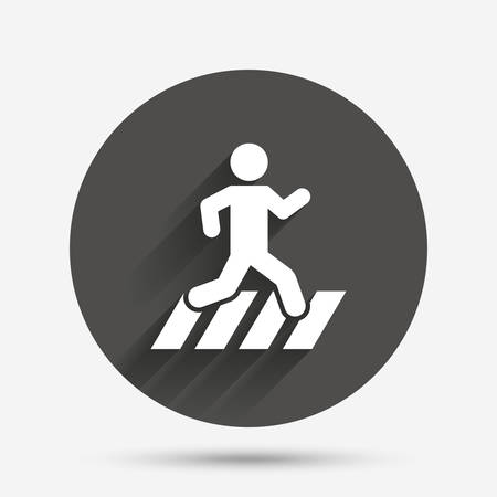 crossing street: Crosswalk icon. Crossing street sign. Circle flat button with shadow. Vector