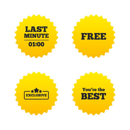 Last minute icon. Exclusive special offer with star symbols. You are the best sign. Free of charge. Yellow stars labels with flat icons. Vector