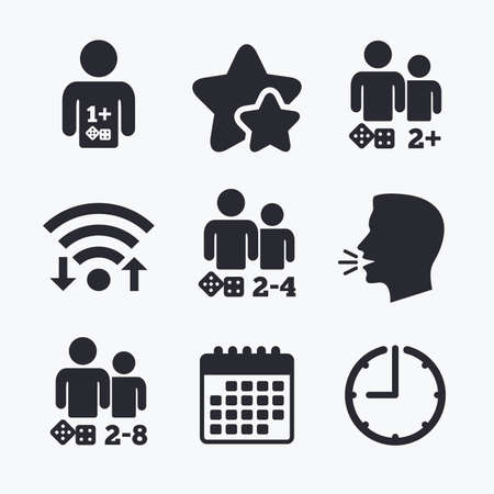 two friends talking: Gamer icons. Board games players sign symbols. Wifi internet, favorite stars, calendar and clock. Talking head. Vector