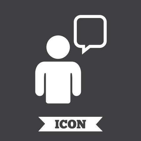 Chat Sign Icon Speech Bubble Symbol Chat Bubble With Human