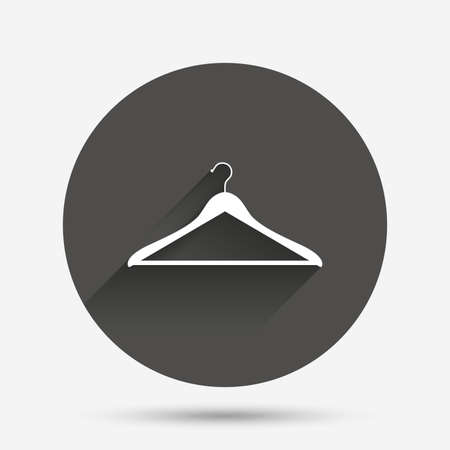 cloakroom: Hanger sign icon. Cloakroom symbol. Circle flat button with shadow. Vector Illustration
