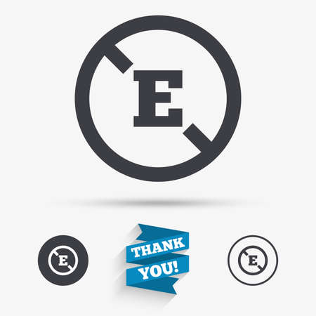preservatives: Food additive sign icon. Without E symbol. Healthy natural food. Flat icons. Buttons with icons. Thank you ribbon. Vector