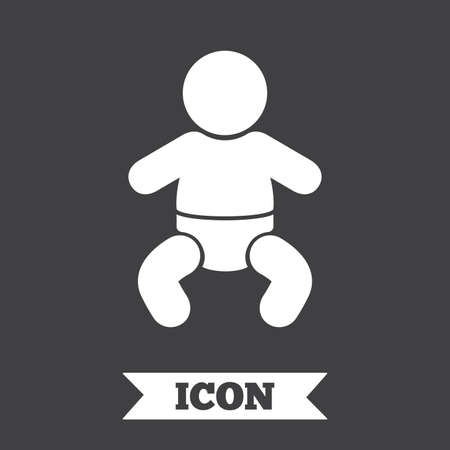 baby toilet: Baby infant sign icon. Toddler boy with diapers symbol. Child WC toilet. Graphic design element. Flat infant symbol on dark background. Vector