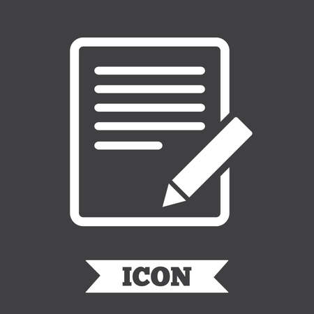 edit: Edit document sign icon. Edit content button. Graphic design element. Flat edit symbol on dark background. Vector