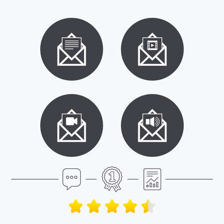 voice mail: Mail envelope icons. Message document symbols. Video and Audio voice message signs. Chat, award medal and report linear icons. Star vote ranking. Vector