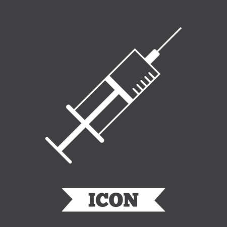 syringe inoculation: Syringe sign icon. Medicine symbol. Graphic design element. Flat syringe symbol on dark background. Vector