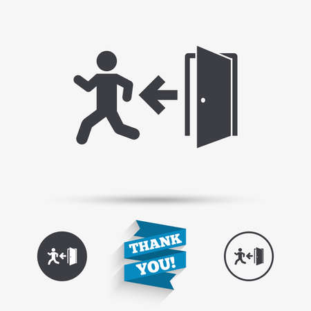 exit emergency sign: Emergency exit with human figure sign icon. Door with left arrow symbol. Fire exit. Flat icons. Buttons with icons. Thank you ribbon. Vector