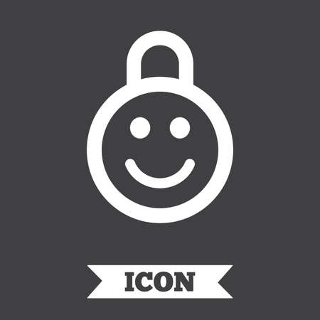 lock symbol: Child lock icon. Locker with smile symbol. Child protection. Graphic design element. Flat child lock symbol on dark background. Vector