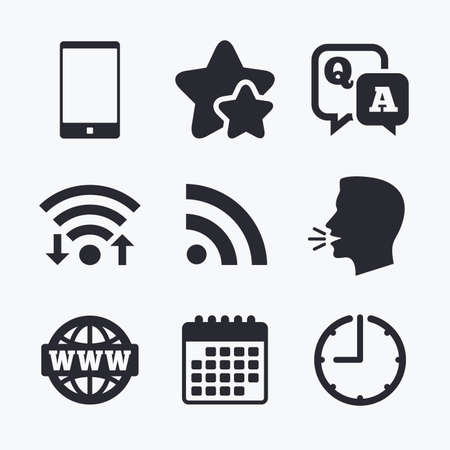 qa: Question answer icon.  Smartphone and Q&A chat speech bubble symbols. RSS feed and internet globe signs. Communication Wifi internet, favorite stars, calendar and clock. Talking head. Vector Illustration