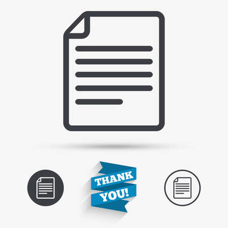 doc: File document icon. Download doc button. Doc file symbol. Flat icons. Buttons with icons. Thank you ribbon. Vector