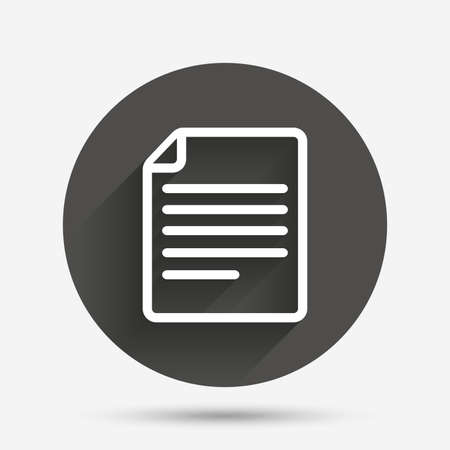 doc: File document icon. Download doc button. Doc file symbol. Circle flat button with shadow. Vector