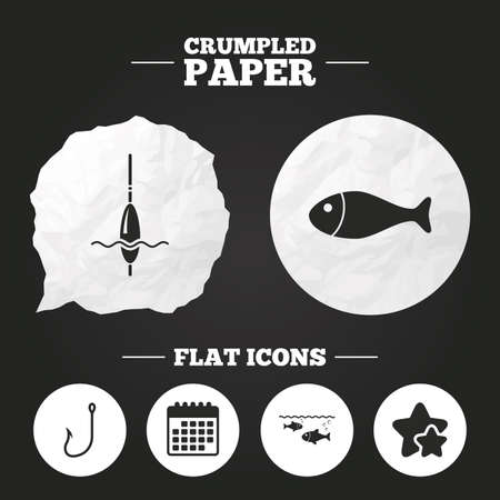 bobber: Crumpled paper speech bubble. Fishing icons. Fish with fishermen hook sign. Float bobber symbol. Paper button. Vector Illustration