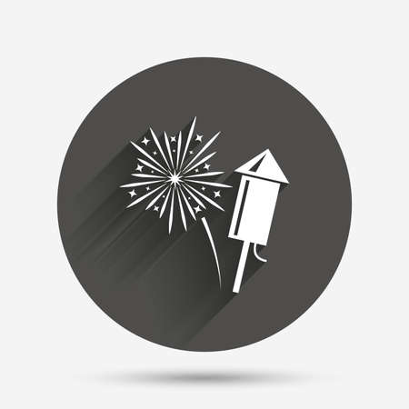 pyrotechnic: Fireworks with rocket sign icon. Explosive pyrotechnic symbol. Circle flat button with shadow. Vector