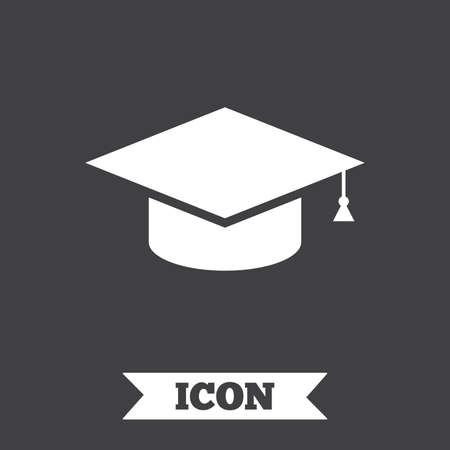 higher education: Graduation cap sign icon. Higher education symbol. Graphic design element. Flat education symbol on dark background. Vector Illustration