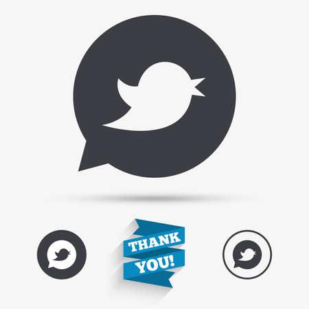 nestling birds: Bird icon. Social media sign. Short messages symbol. Speech bubble. Flat icons. Buttons with icons. Thank you ribbon. Vector