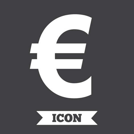 money euro: Euro sign icon. EUR currency symbol. Money label. Graphic design element. Flat money euro symbol on dark background. Vector