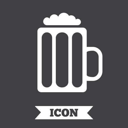 Glass Of Beer Sign Icon Alcohol Drink Symbol Gray Circle Button
