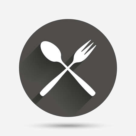 teaspoon: Eat sign icon. Cutlery symbol. Dessert fork and teaspoon crosswise. Circle flat button with shadow. Vector Illustration