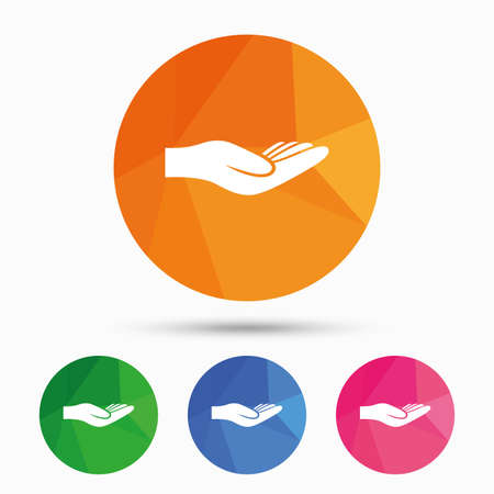 endowment: Donation hand sign icon. Charity or endowment symbol. Human helping hand palm. Triangular low poly button with flat icon. Vector Illustration
