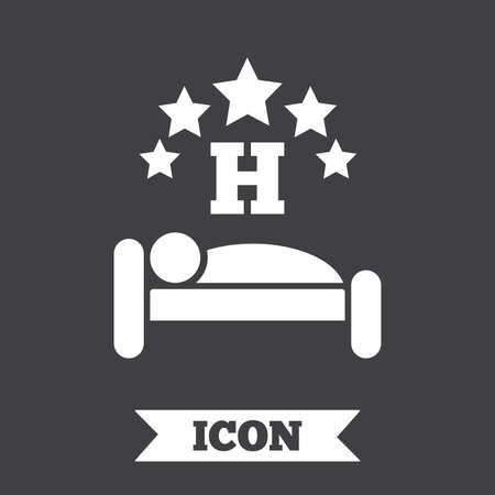sleeper: Five star Hotel apartment sign icon. Travel rest place. Sleeper symbol. Graphic design element. Flat hotel symbol on dark background. Vector Illustration