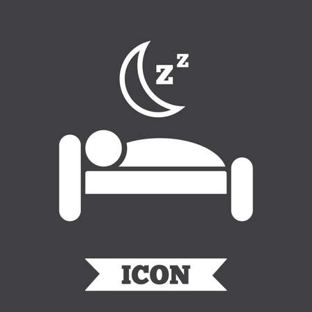 sleeper: Hotel apartment sign icon. Travel rest place. Sleeper symbol. Graphic design element. Flat hotel symbol on dark background. Vector Illustration