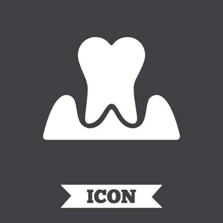 gingivitis: Parodontosis tooth icon. Gingivitis sign. Inflammation of gums symbol. Graphic design element. Flat parodontosist symbol on dark background. Vector Illustration
