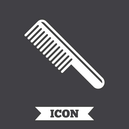comb hair: Comb hair sign icon. Barber symbol. Graphic design element. Flat comb symbol on dark background. Vector Illustration