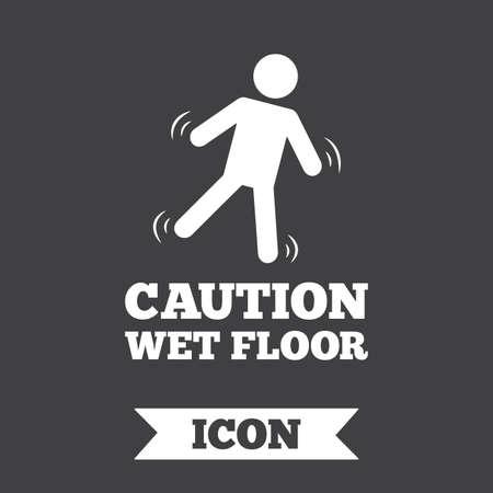 wet floor caution sign: Caution wet floor sign icon. Human falling symbol. Graphic design element. Flat wet floor symbol on dark background. Vector