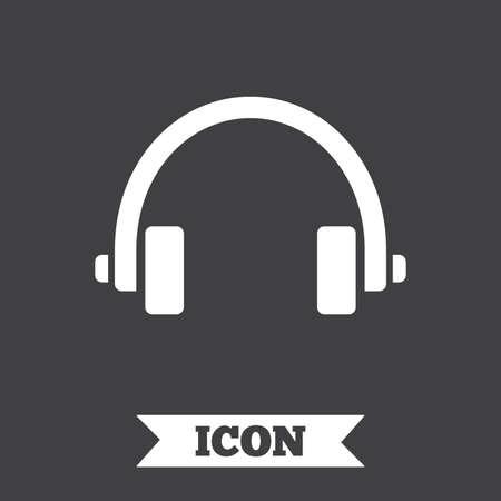 earphones: Headphones sign icon. Earphones button. Graphic design element. Flat headphones symbol on dark background. Vector