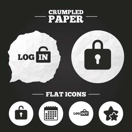 sign out: Crumpled paper speech bubble. Login and Logout icons. Sign in or Sign out symbols. Lock icon. Paper button. Vector