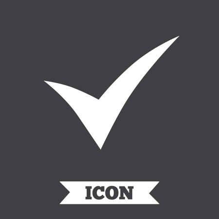 confirm: Check sign icon. Yes symbol. Confirm. Graphic design element. Flat tick symbol on dark background. Vector