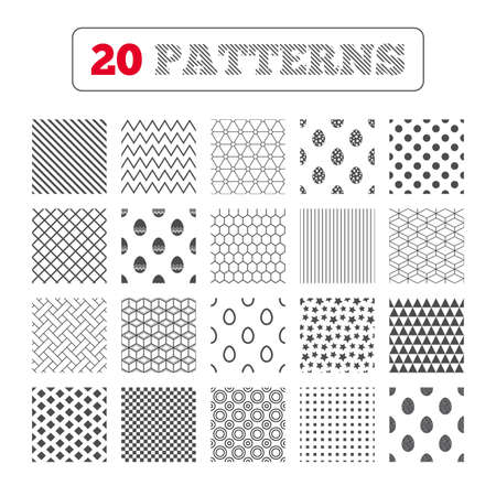 pasch: Ornament patterns, diagonal stripes and stars. Easter eggs icons. Circles and floral patterns symbols. Tradition Pasch signs. Geometric textures. Vector