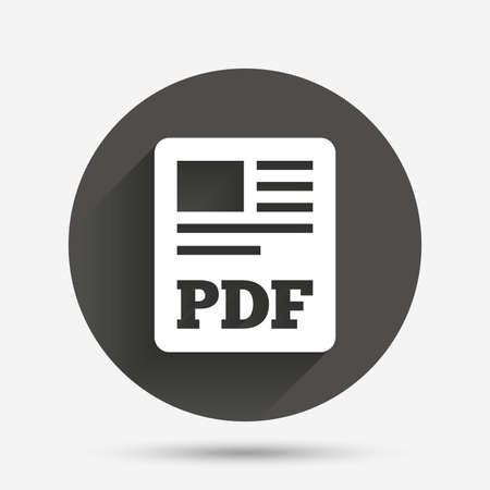 pdf: PDF file document icon. Download pdf button. PDF file symbol. Circle flat button with shadow. Vector