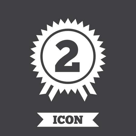 second prize: Second place award sign icon. Prize for winner symbol. Graphic design element. Flat winner symbol on dark background. Vector Illustration