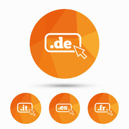 vector es: Top-level internet domain icons. De, It, Es and Fr symbols with cursor pointer. Unique national DNS names. Triangular low poly buttons with shadow. Vector
