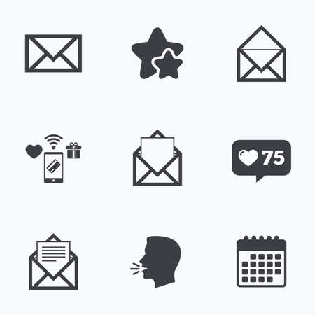 webmail: Mail envelope icons. Message document symbols. Post office letter signs. Flat talking head, calendar icons. Stars, like counter icons. Vector