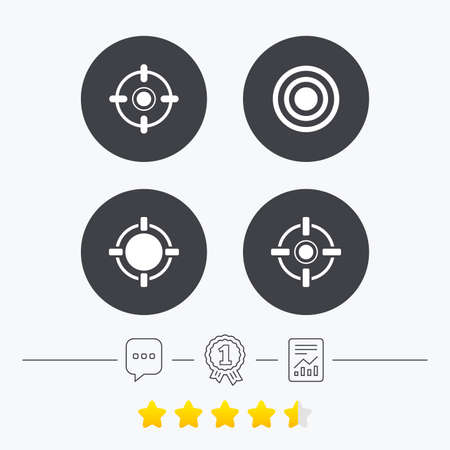 sights: Crosshair icons. Target aim signs symbols. Weapon gun sights for shooting range. Chat, award medal and report linear icons. Star vote ranking. Vector Illustration