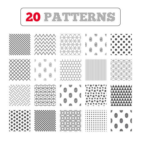 biometric: Ornament patterns, diagonal stripes and stars. Fingerprint icons. Identification or authentication symbols. Biometric human dabs signs. Geometric textures. Vector