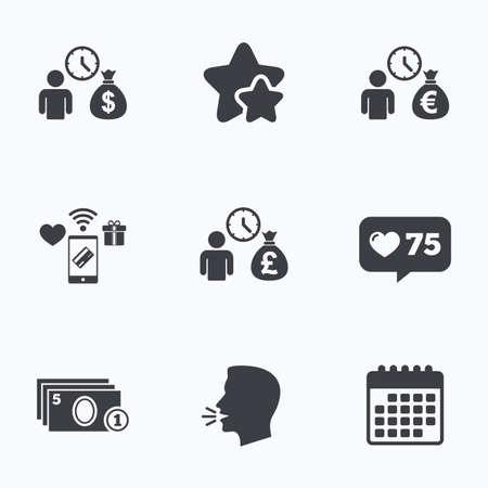 borrow: Bank loans icons. Cash money bag symbols. Borrow money sign. Get Dollar money fast. Flat talking head, calendar icons. Stars, like counter icons. Vector