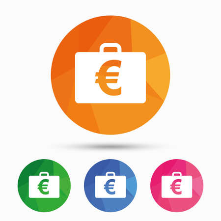 eur: Case with Euro EUR sign icon. Briefcase button. Triangular low poly button with flat icon. Vector Illustration