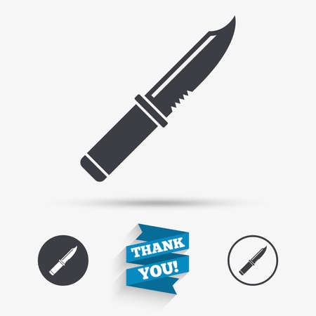 stab: Knife sign icon. Edged weapons symbol. Stab or cut. Hunting equipment. Flat icons. Buttons with icons. Thank you ribbon. Vector