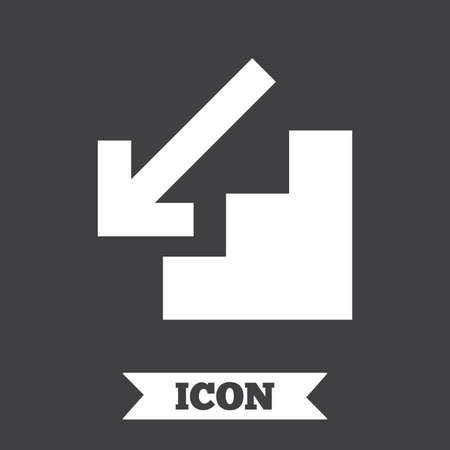 downstairs: Downstairs icon. Down arrow sign. Graphic design element. Flat downstairs symbol on dark background. Vector