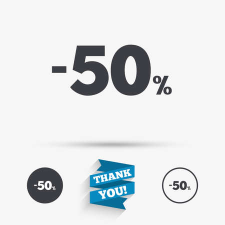 you are special: 50 percent discount sign icon. Sale symbol. Special offer label. Flat icons. Buttons with icons. Thank you ribbon. Vector Illustration