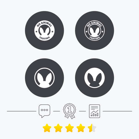 voting rights: No animals testing icons. Non-human experiments signs symbols. Chat, award medal and report linear icons. Star vote ranking. Vector